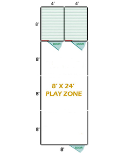 8' X 24' Vinyl Playzone W/Multiple 4' X 8' Dog Kennels X2