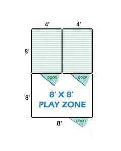 8' X 8' Vinyl Playzone W/Multiple 4' X 8' Dog Kennels X2