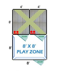 8' X 8' Complete Playzone W/Multiple 4' X 8' PRO Dog Kennels X2