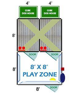 8' X 8' Ultimate Playzone W/Multiple 4' X 8' PRO Dog Kennels X2