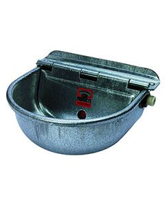 Galvanized Steel Kennel Mounted Water Bowl W/ Water Hook Up