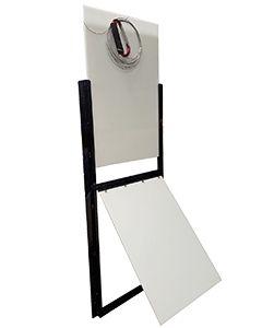 Vertical Sliding Door With Weather Resistent Swinging Flap