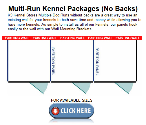 No Back Multiple Dog Kennels